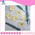 Yellow paper Flower wisteria and green foliage for indoor wall decoration