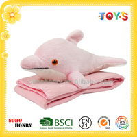 Cute Dolphins Shaped Animal Toy 100% Polyester Micro Velboa Baby Blanket