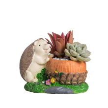 Lovely Miniature Resin Hedgehog Artificial Flowers Succulent Plants Pot