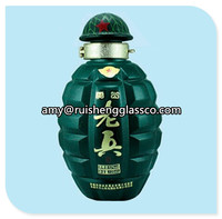 Factory price 500ml green glass grenade-shaped bottles