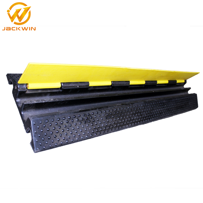 Flexible Yellow Cover 2 Channel Rubber Floor Cable Protector/Cable Guard/Rubber Kerb Ramp
