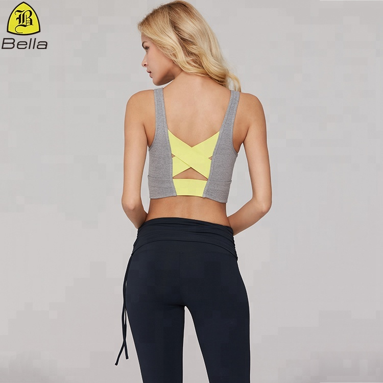 Back strappy cross sexy fitness tops yoga wear ladies sports bra gym