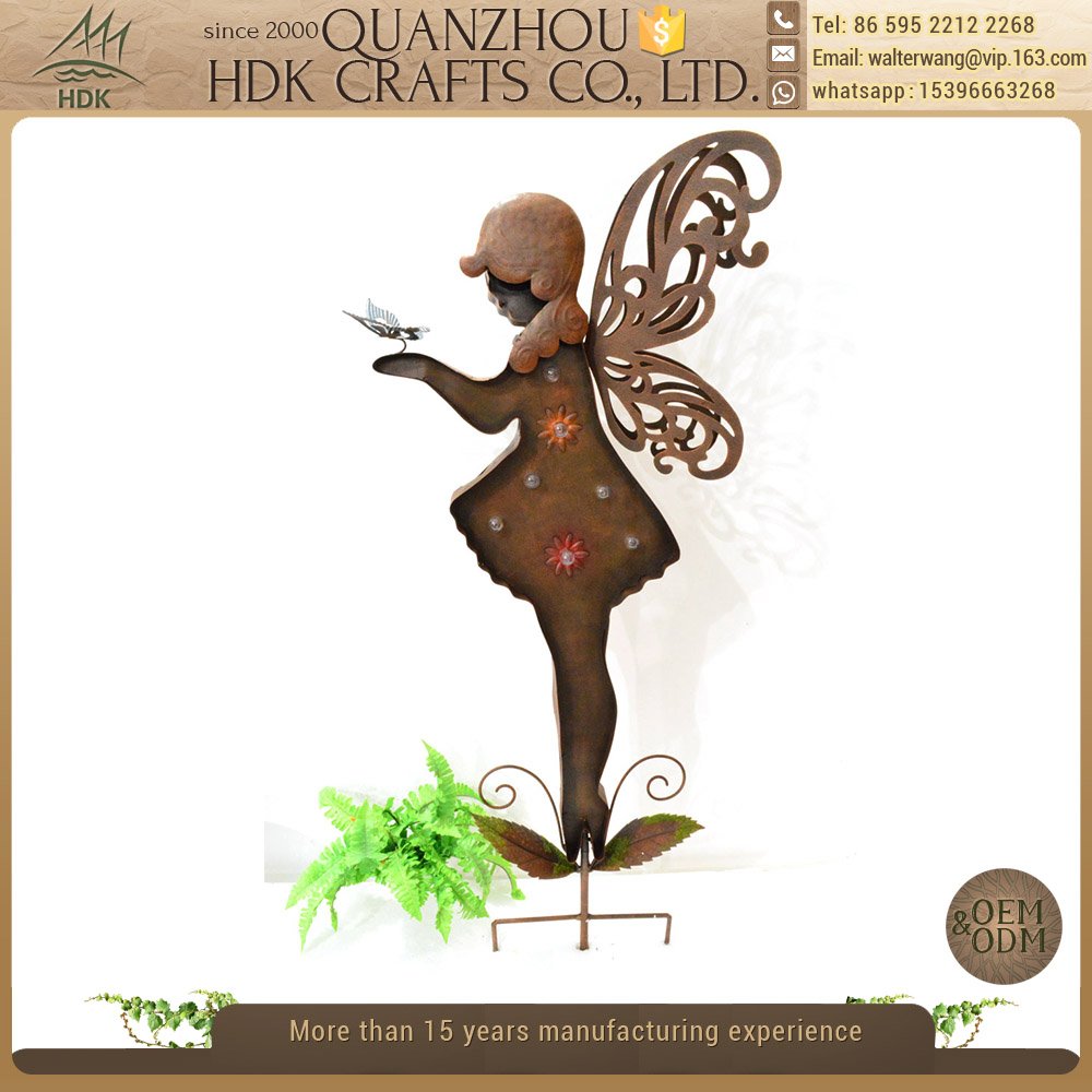 Hot sale outdoor stake decoration wrought iron fairy garden