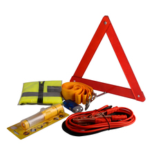 Red car emergency kits with warning triangle