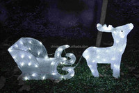 3D Acrylic led lights raindeer sleigh