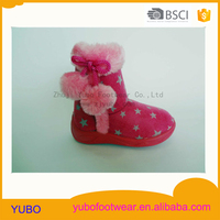 Lovely star pattern injection winter snow boots with two hair balls