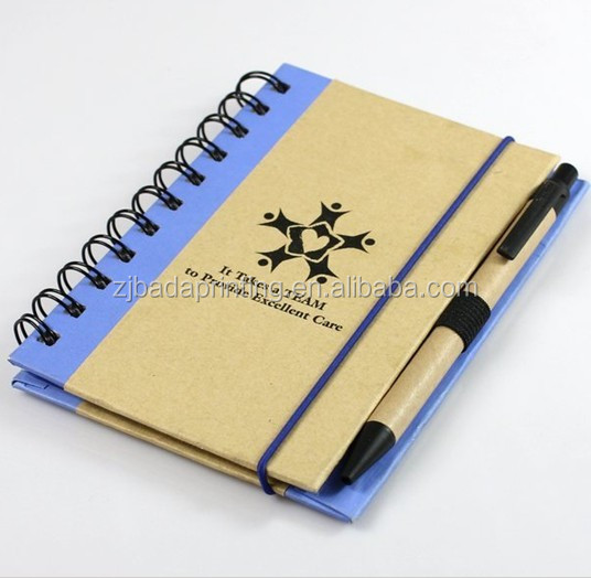 Eco-friendly Kraft Paper Notebook With Elastic Band/ Pen, Custom Notebook With Logo Printed