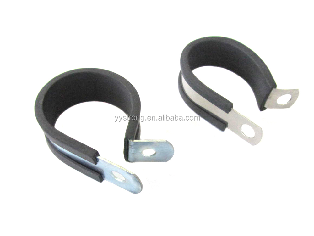 P type rubber lined cable clamps pipe