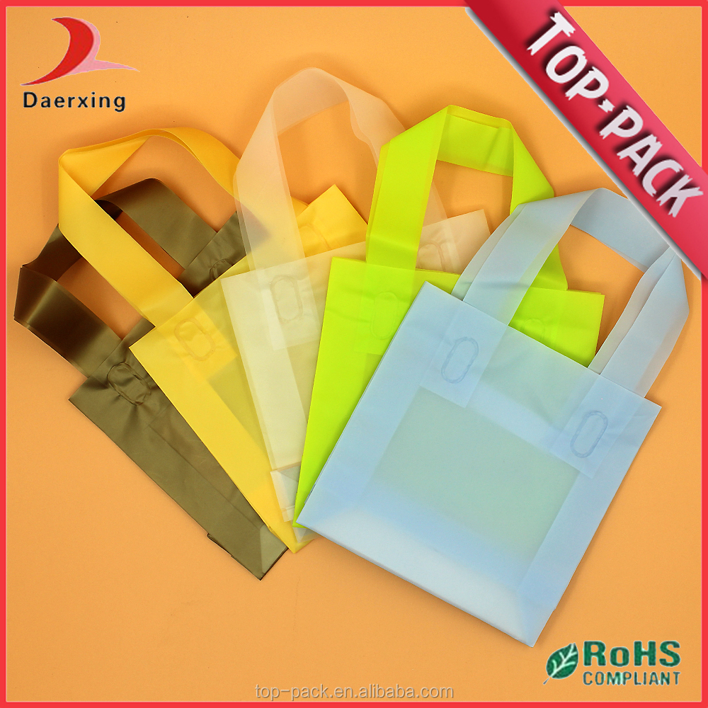 colorful soft handle plastic loophandle bag for package