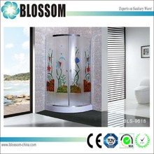 Colorful glass sliding enclosed shower cubicle