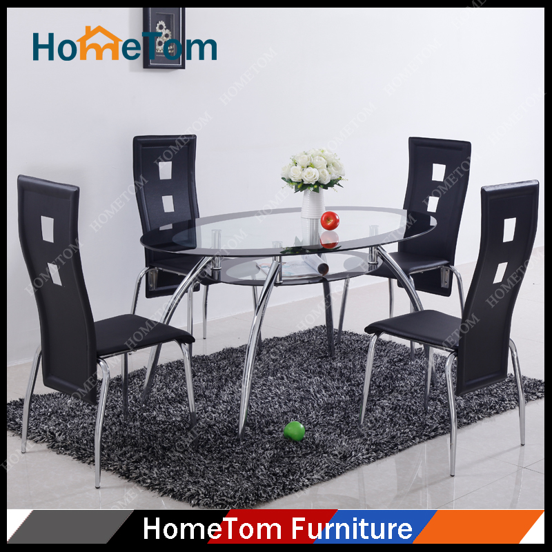 Hometom Furniture Metal Glass Morden Dining Room Set