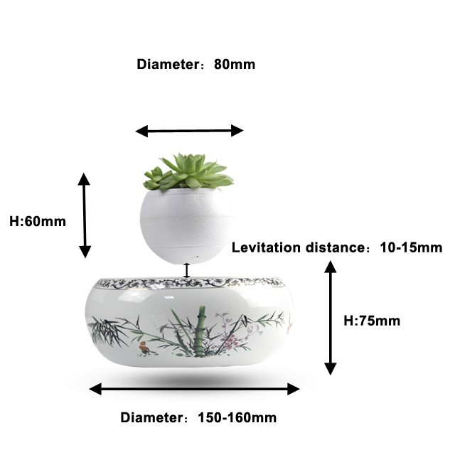 Levitating system for fly bonsai plant pot and fly flower