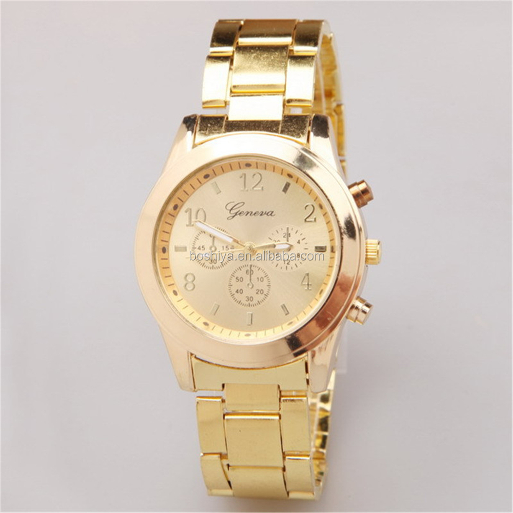 Geneva Brand Watch Cheap Diamond Quartz Hours Men China Supplier