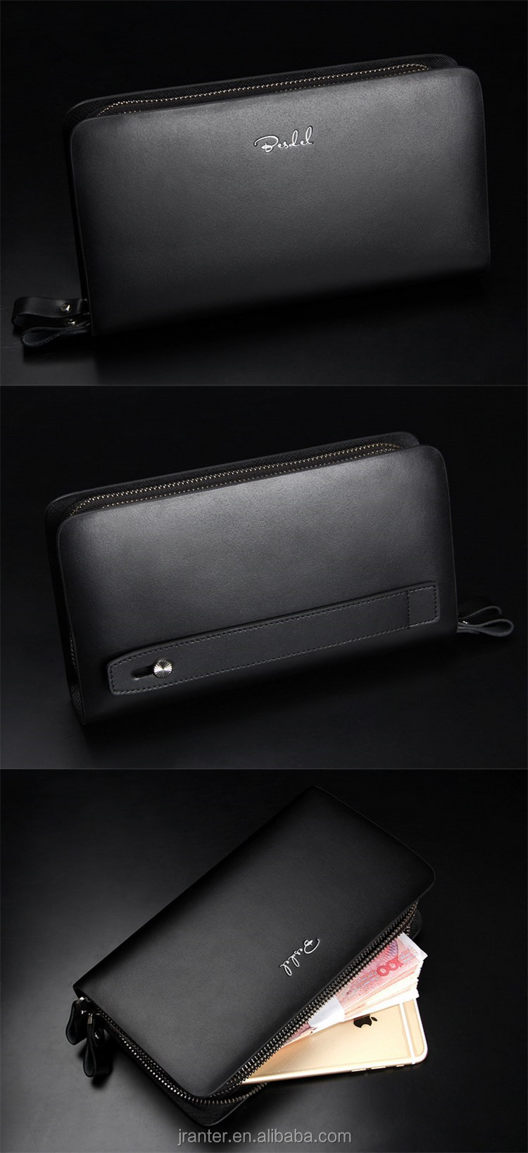 Hot ! 2015 luxury genuine leather wallet purse,zipper wallet purse for man