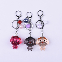 Wholesale custom fashion cute acrylic dog key ring for girls