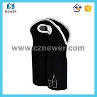 Custom logo neoprene wine 2 bottle carrier bag for takeout