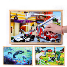 children toys new 2016 design marine animals and fire engines mixed Wooden boxed Jigsaw puzzle