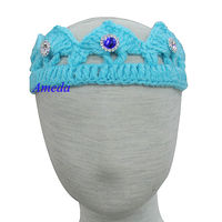 Newborn Baby Knitted Crochet Crown Blue Crystal Tiara Photo Prop 0-6M