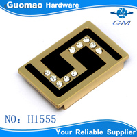 Rectangle shape metal hardware for bags handbag letter S with crystal