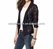 Black Stretch Lace Tuxedo Jacket - Chinese Clothing factory with 100% Polyester