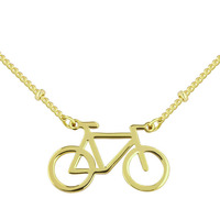 Racing Necklace Copper alloy jewelry choker necklace Silver/gold/rose Gold Color Racing Bike Bicycle Tiny Charm Necklace