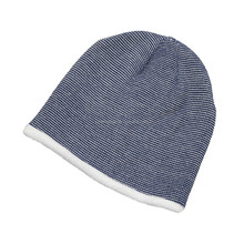 men's pinstriped knitting hat beanie with fleece lining