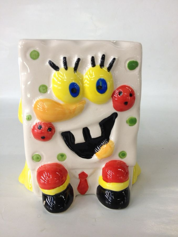 Cartoon grass head doll,creative gift ceramic mini plantings ,SpongeBob SquarePants