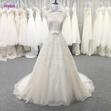 Sexy Lace Keyhole Back A Line Bridal Dress with Bow Waistband Wedding Gown