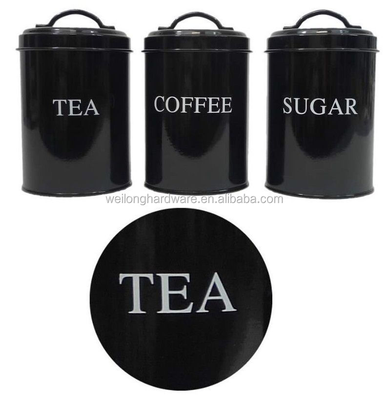 tea coffee sugar black canister canisters printed/metal kitchen canisters