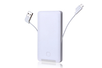Ultra thin 5000 mah portable power bank with built in cable mobile battery charger