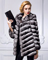 Womens Top Quality Real Chinchilla Fur Coat with Hood