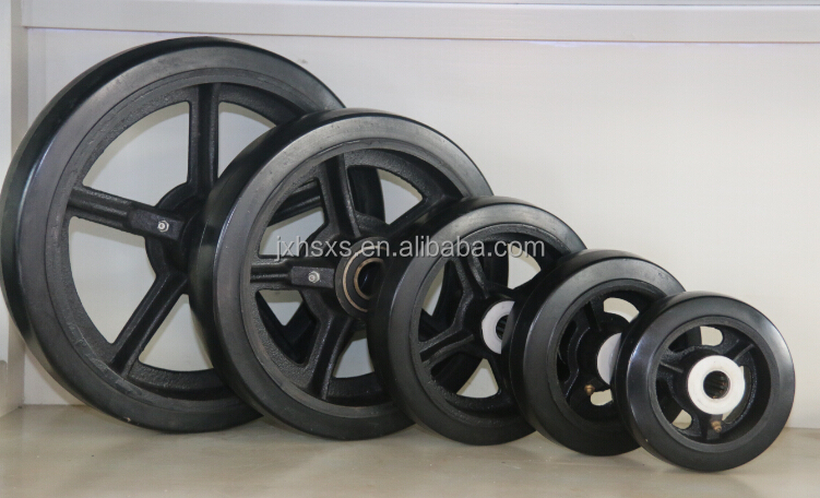 rubber caster mold on cast iron wheel