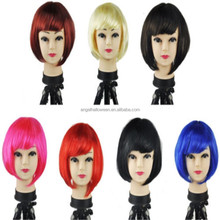 Hot sales funny Carnival party Halloween wigs Cheap Colorful Synthetic bob short cosplay Wigs BP1556