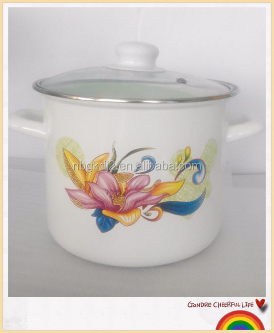 quality guarantee porcelain enamel coating high quality mini stock pot with two side decal glass lid and pp knob