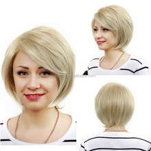 Charming Light Blonde Mixed Synthetic Wigs Short Inclined Bang Capless Straight Wig
