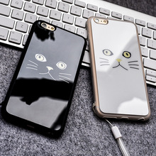 Cute Cartoon Mini Cat Mirror Phone Cases for iPhone 6 6s Plus Silicone Frame Gel Hard Back Cover for iPhone 7 7Plus Coque
