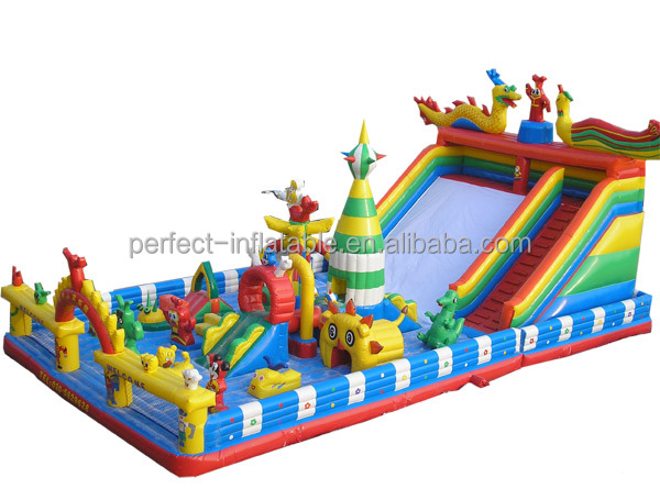 Children's toys Giant Inflatable Playing Area Bouncy Castle with two small slides, a big slide, and lovely cartoon