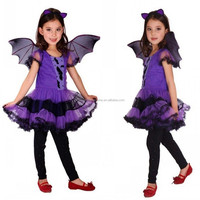 EN71 Halloween Purple Mesh Dress Show Girl Costume With Bat Wings