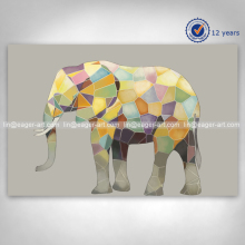 High Quality Home Decoration Handmade Canvas Wall Art Elephant Animal Oil Painting