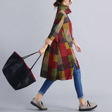 monrooWinter Dresses Plaid Print Turtleneck Irregular Full Dress Vintage Woolen Women Long Sleeve Dress Plus Size Women Clothing