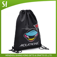 black waterproof nylon drawstring travel bag with zipper/drawstring bag polyester 100% for player