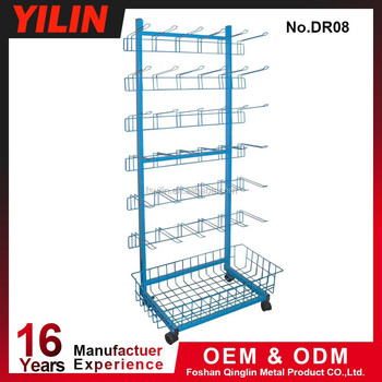Excellent Material Supermarket Metallic Mobile Display Stand