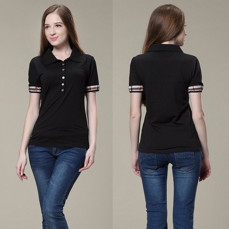 ladies women fashion new designs slim fit black blank soft short sleeves polo shirt button up t shirt polor collar shirts