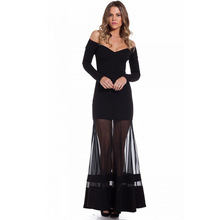 Off-shoulder apparel bodycon long sleeve fishtail black backless dresses for mother of graduate