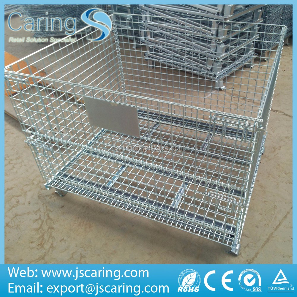 warehouse use heavy duty steel galvanized stackable wire mesh cage