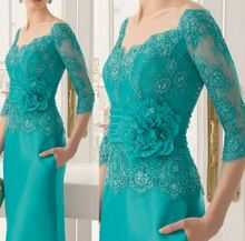 MOON BUNNY 2016 Mother Of The Bride Dresses Sheath V-neck Half Sleeves Lace Turquoise Flowers Mother Dresses Evening Dresses For