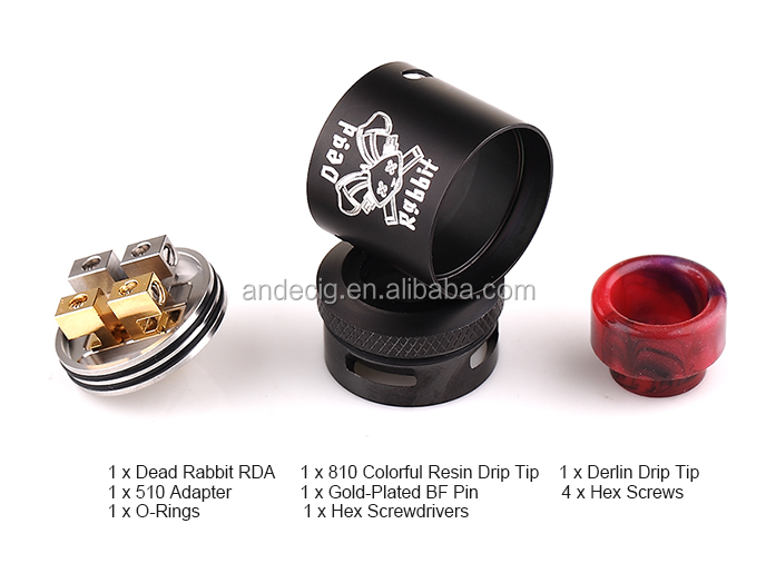 2017 Hottest Rebuildable Atomizer Hellvape Dead Rabbit RDA Tank with 810 Resin Drip Tips and Bottom Feeding Design
