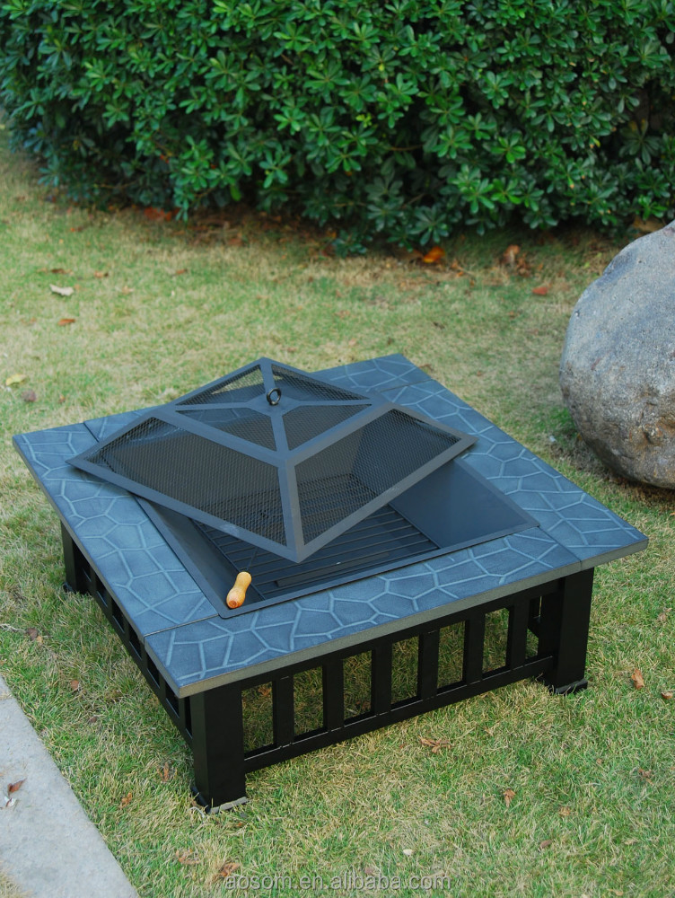 Outsunny 32 square outdoor metal fire pit table buy for Buy outdoor fire pit