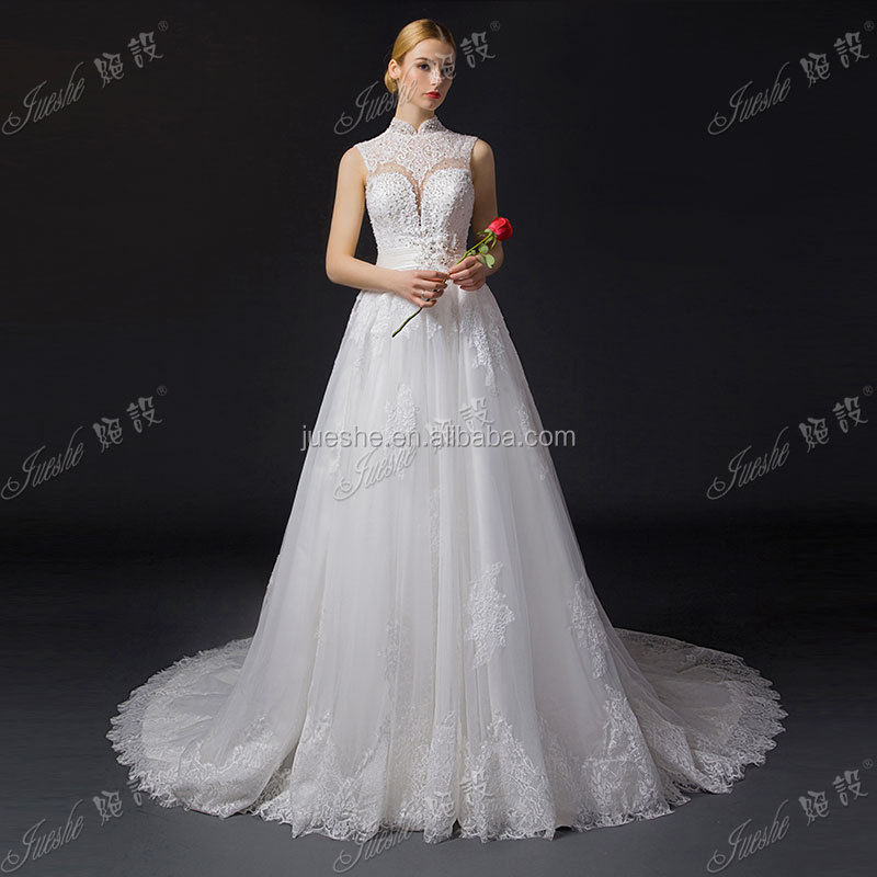 2015 New Arrival High Neck Key Hole Back Vintage Lace Wedding Dresses