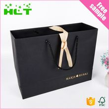 Wholesale Price custom fashion glossy black paper shopping bags with logo print